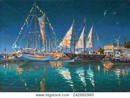 Artwork: Big Yachts In Sochi. Author: Nikolay Sivenkov.