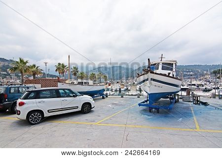 Puerto Soller, Mallorca, Spain - May 10, 2018: Boats And Details In The Marina On An Overcast Day On