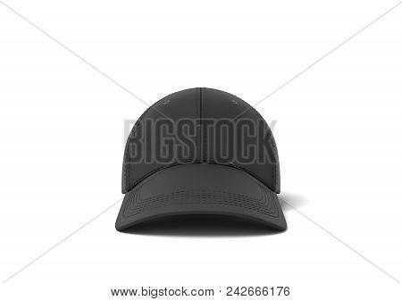 3d Rendering Of A Single New Baseball Cap Made In Black Textile Material Lying On A White Background