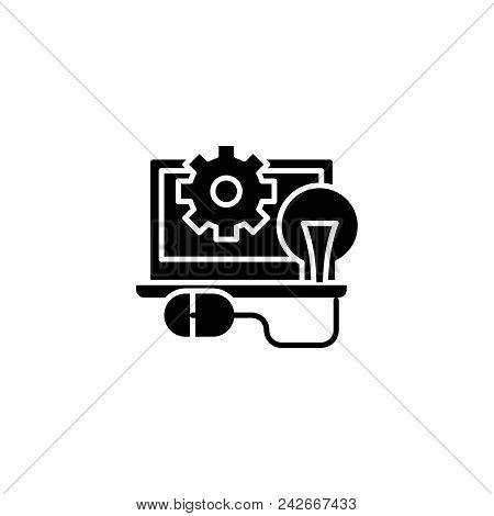 Programming Black Icon Concept. Programming Flat  Vector Website Sign, Symbol, Illustration.