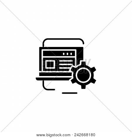 Project Monitoring Black Icon Concept. Project Monitoring Flat  Vector Website Sign, Symbol, Illustr
