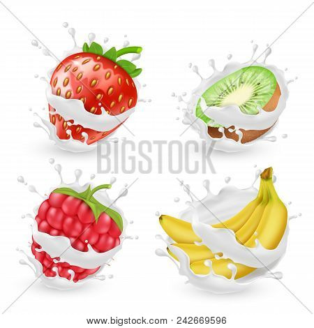 Vector Set Of Juicy Summer Fruits And Berries In Milk Or Cream Splashes, Isolated On Background. Nat