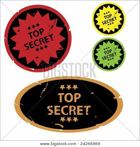 poster of Set of colorful top secret grunge stickers or rubber stamps