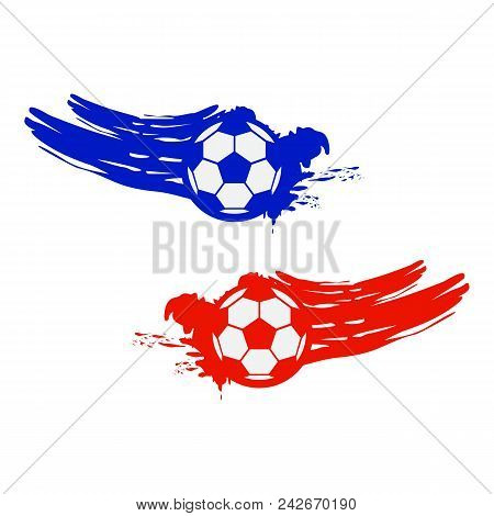 Soccer And Football Balls For Labels And Emblems. Vector Elements Set Color. Football Emblem, Label