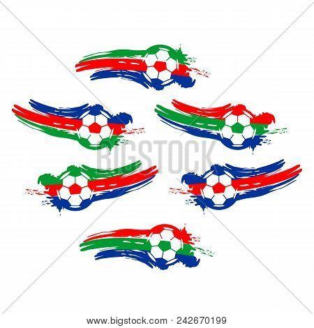 Soccer And Football Balls For Labels And Emblems. Vector Elements Set Color. Football Emblem, Label