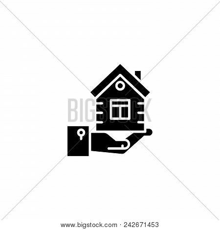 Real Estate Market Supply Black Icon Concept. Real Estate Market Supply Flat  Vector Website Sign, S