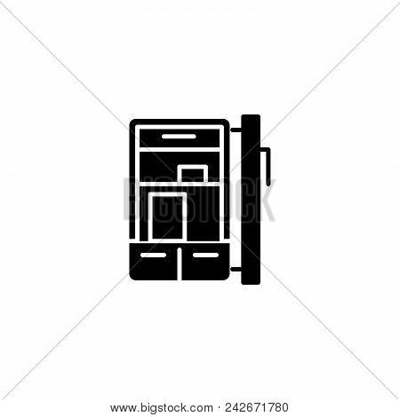 Refrigerator Black Icon Concept. Refrigerator Flat  Vector Website Sign, Symbol, Illustration.