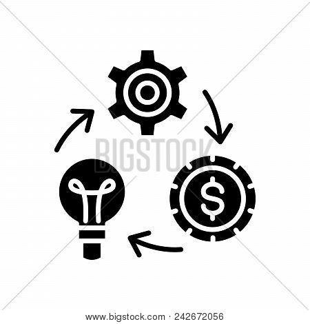 Reinvestment Of Funds Black Icon Concept. Reinvestment Of Funds Flat  Vector Website Sign, Symbol, I