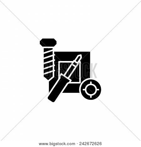 Repair Of Electronics Black Icon Concept. Repair Of Electronics Flat  Vector Website Sign, Symbol, I
