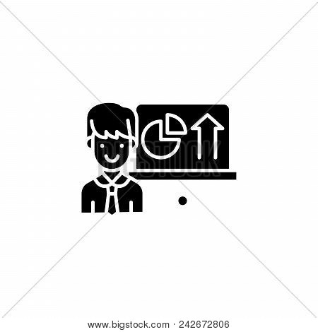 Report On Progress Black Icon Concept. Report On Progress Flat  Vector Website Sign, Symbol, Illustr