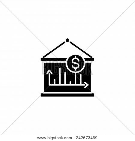 Revenue Dynamics Black Icon Concept. Revenue Dynamics Flat  Vector Website Sign, Symbol, Illustratio
