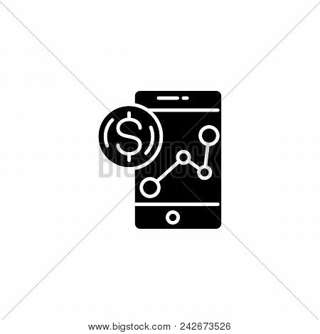 Revenue Monitoring Black Icon Concept. Revenue Monitoring Flat  Vector Website Sign, Symbol, Illustr