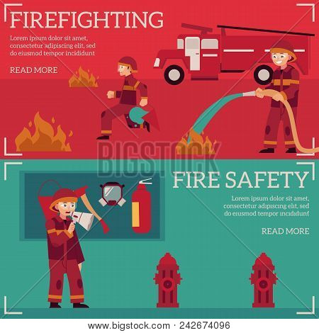Firefighting And Fire Safety Concept Banners Set. Fireman In Fire Protection Uniform Extinguishing F