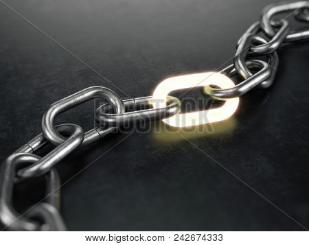 Metal chain with a glowing link on black background. 3d rendering