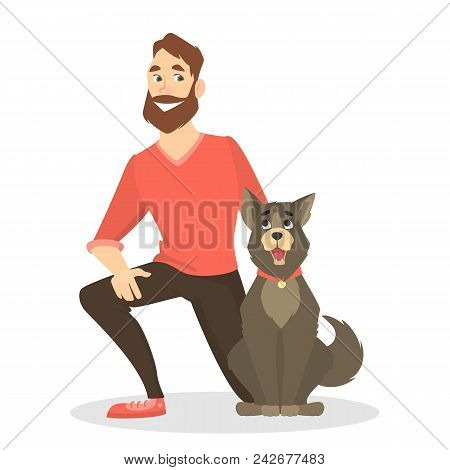 Owner With Pet On White Background. Man With Dog.