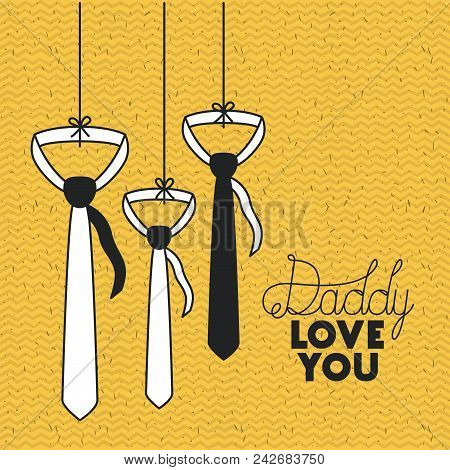 Happy Fathers Day With Neckties Hanging Vector Illustration Design