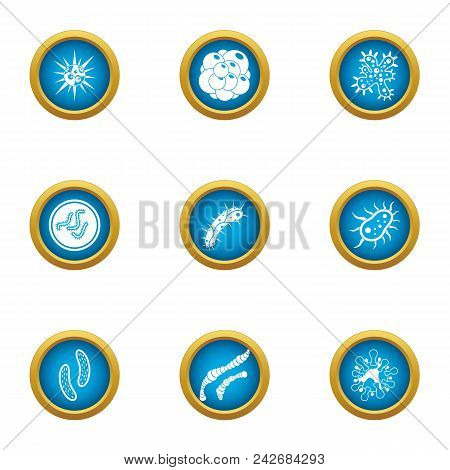 Attack Of The Microbe Icons Set. Flat Set Of 9 Attack Of The Microbe Vector Icons For Web Isolated O