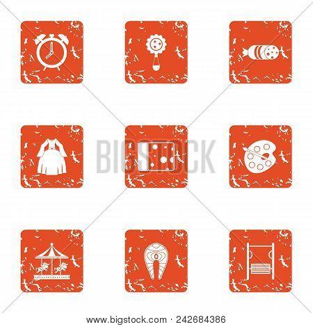 Child Hobby Icons Set. Grunge Set Of 9 Child Hobby Vector Icons For Web Isolated On White Background