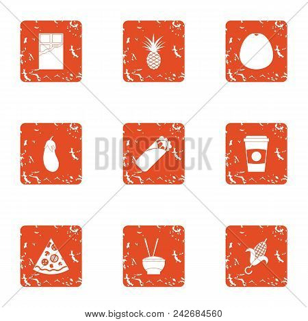 Harmful repast icons set. Grunge set of 9 harmful repast vector icons for web isolated on white background poster