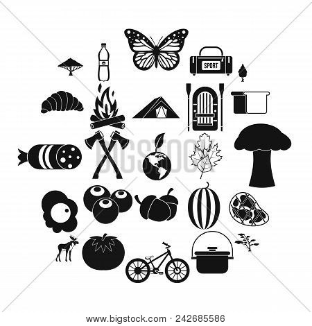Hiking In The Wilderness Icons Set. Simple Set Of 25 Hiking In The Wilderness Vector Icons For Web I