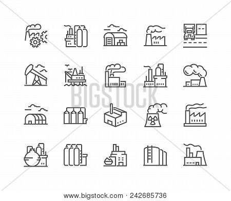 Simple Set Of Factories Related Vector Line Icons. Contains Such Icons As Truck Terminal, Power Stat