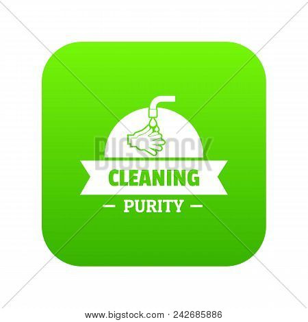 Cleaning Purity Icon Green Vector Isolated On White Background