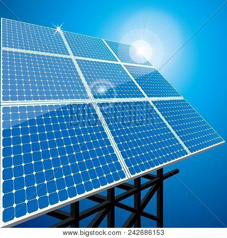 New Energy Concept Design.vector Drawning Solar Panel.