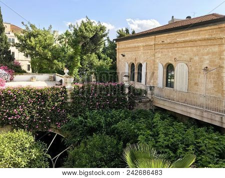 Jerusalem, May 9, 2018: The Pasha Room Patio At The American Colony Hotel. The Historic Building Pre