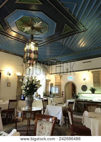 Jerusalem, May 9, 2018: The Arabesque Dining Room At The American Colony Hotel. The Historic Buildin