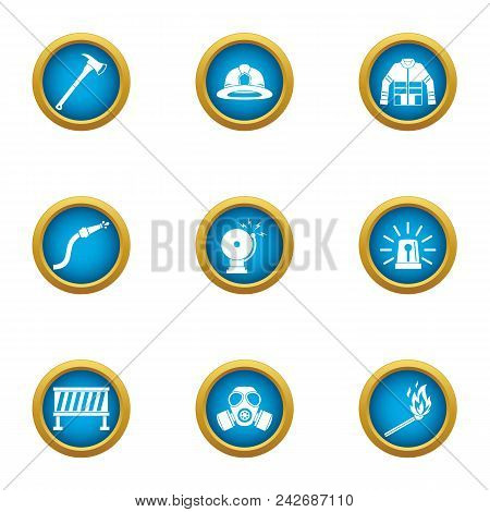 Hazardous Work Icons Set. Flat Set Of 9 Hazardous Work Vector Icons For Web Isolated On White Backgr