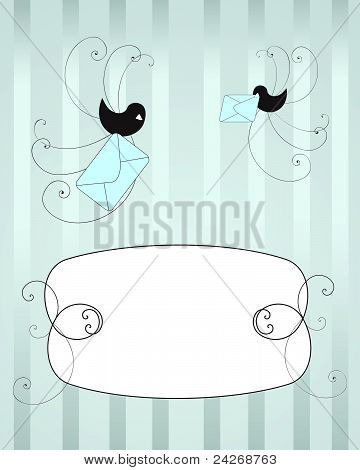 Birds delivering post on the blue background