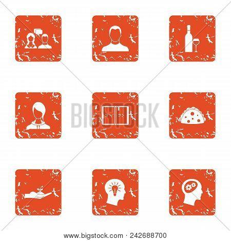Common Sense Icons Set. Grunge Set Of 9 Common Sense Vector Icons For Web Isolated On White Backgrou