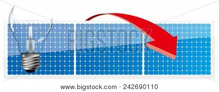Energy Concept Design, Light Bulbs And Arrows In Front Of Solar Panels