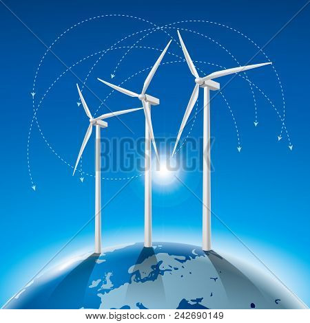 Alternative Energy Concept, Wind Generators On Earth.background Is Blue.