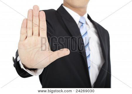 Businessman says no or hold on