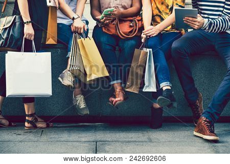 Female friends on a shopping spree