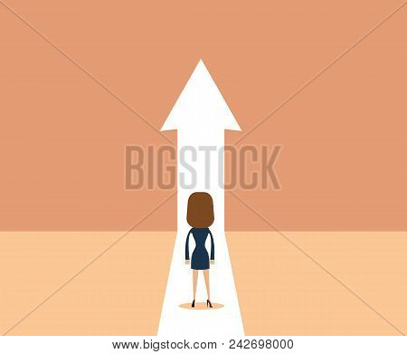 Business Growth Vector Concept With Man Walking Towards Upwards Arrow. Symbol Of Success, Promotion,