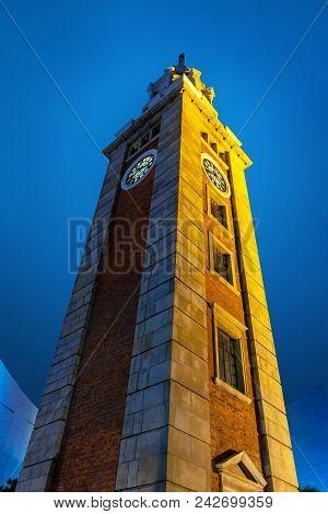 Night View Old Clock Tower In Tsim Sha Tsui, Kowloon, Hong Kong.