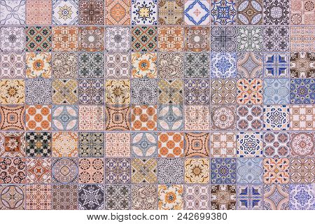 Colorful Set Of Ornamental Tiles , Seamless Ceramic Tiles Wall And Floor Decoration Patterns. Used F