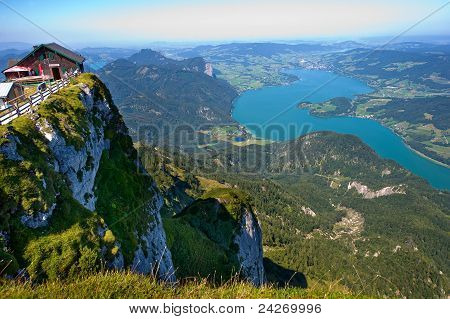 The Mondsee in Austria seen from the 1784 meters high mountain Schafberg poster