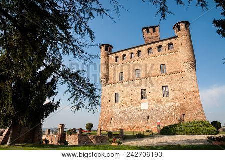 Grinzane Cavour, Italy - 2016, September 27 : The Red Brick Castle Of Grinzane Cavour In The Barolo