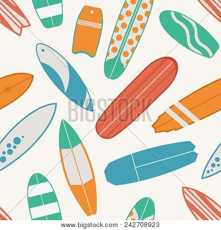 Sea Surfing Pattern With Different Type Surf Desks. Surfboard Seamless Background In Retro Colors. S