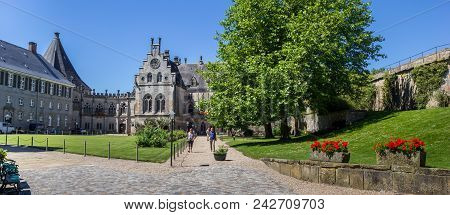 Bad Bentheim, Germany - July 19, 2016: Panorama Of The Courtyard Of The Bentheim Castle In Germany