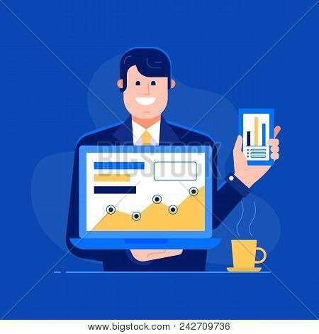Office Manager Presenting New Features To Clients Illustration. Successful Businessman Or Office Man