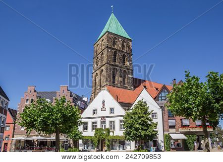 Rheine, Germany - July 19, 2016: Central Market Square In Historical City Rheine, Germany