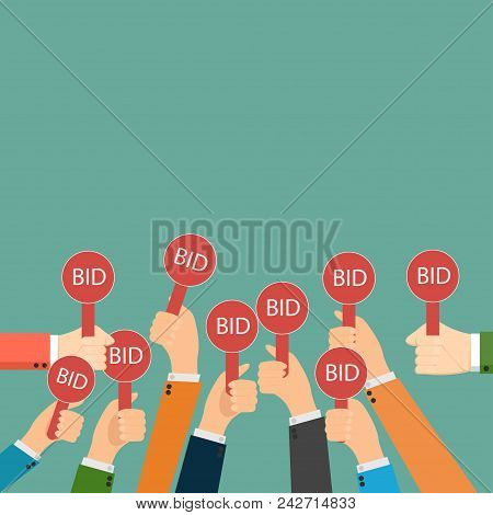 Hand Holding Auction Paddle. Bidding Icon. Auction Competition. Hands Rising Signs With Bid Inscript