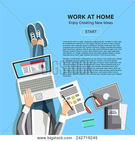 Work At Home Office Business Banner. Top View Man With Headphones, Laptop And Business Reports. Self