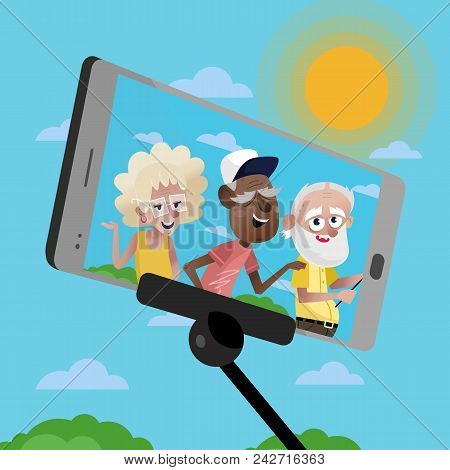Smiling Mature Persons Doing Selfie On Background Of Blue Sky. Active Elderly Concept With Retired P