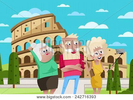 Smiling Old People Doing Selfie On Background Of Coliseum In Rome. Active Elderly Concept With Retir