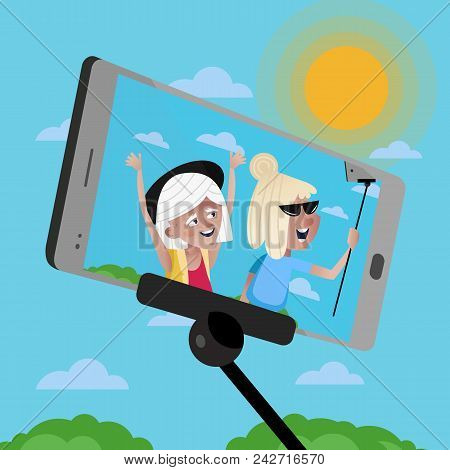 Smiling Old Women Doing Selfie On Background Of Blue Sky. Active Elderly Concept With Retired People
